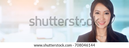 portrait of asian women call center or female customer support phone operator wearing microphone headset at Customer Service.Positive emotion .copy space area for text message