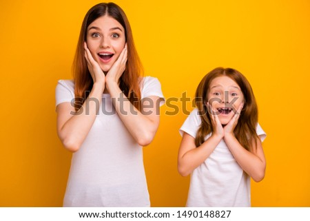 Portrait of astonished funny ladies with long hairdo screaming wow omg touching their face  isolated over yellow background