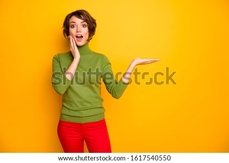 Portrait of astonished girl promoter hold hand recommend incredible adverts promotion scream wow omg wear stylish clothes isolated over bright color background
