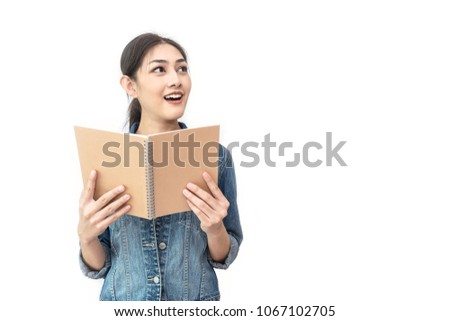 Beautiful Young Muslim Women Read A Book Isolated On White