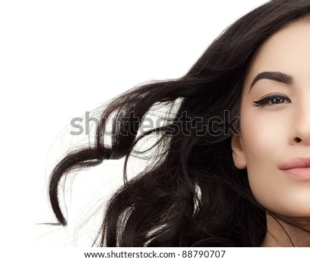 portrait of attractive asian woman brunette isolated on white studio shot - stock photo