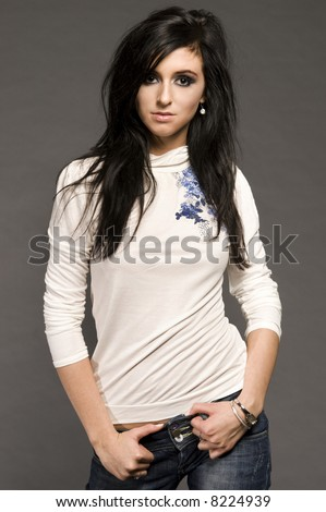stock photo portrait of attractive brunette model with glamor makeup