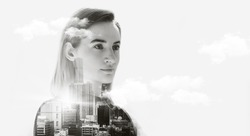 Portrait of attractive business woman, Double exposure concept with business woman and panoramic view contemporary megalopolis background