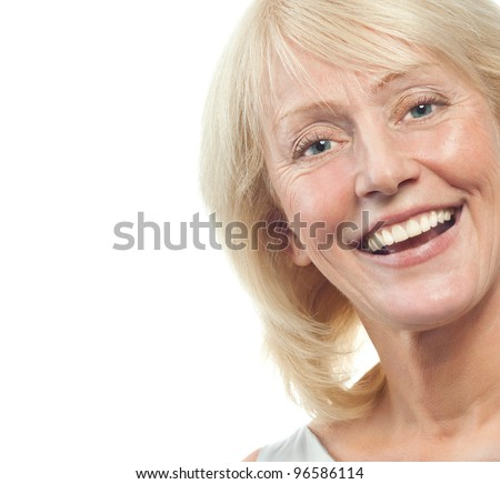 portrait of attractive  caucasian smiling mature woman blond isolated on white studio shot #96586114