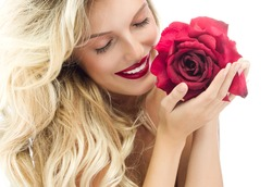 portrait of attractive  caucasian smiling woman blond isolated on white studio shot red rose lips toothy smile face long hair head and shoulders eyes closed