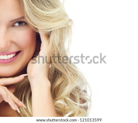 portrait of attractive  caucasian smiling woman blond isolated on white studio shot toothy smile face long hair head and shoulders looking at camera #121013599