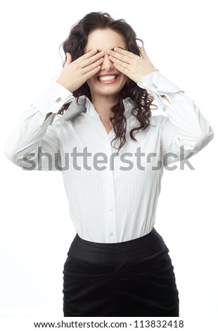 portrait of attractive  caucasian smiling woman isolated on white studio shot  businesswoman eyes closed by hands
