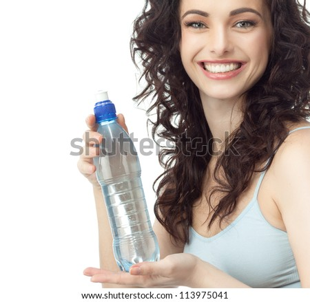 portrait of attractive  caucasian smiling woman isolated on white studio shot drinking water bottle