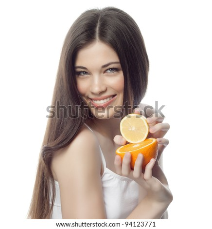 portrait of attractive  caucasian smiling woman isolated on white studio shot with orange