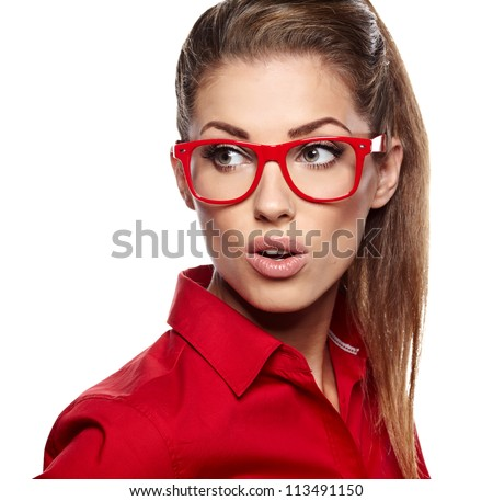 portrait of attractive caucasian smiling woman isolated on white studio with glasses - stock photo
