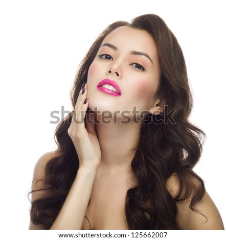 portrait of attractive  caucasian  woman brunette isolated on white studio shot