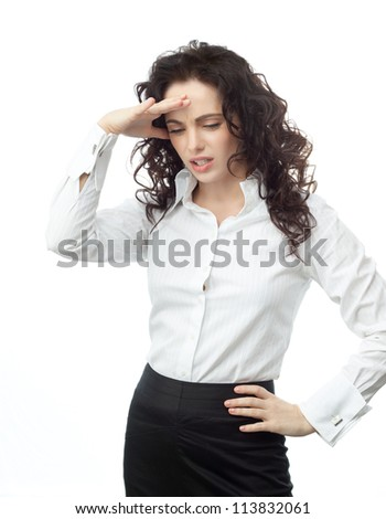 portrait of attractive  caucasian  woman isolated on white studio shot looking at camera businesswoman