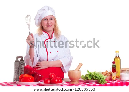 Portrait of attractive cook woman, holding whisk