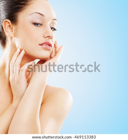 Portrait of attractive female .Body care and beauty concept. #469113383