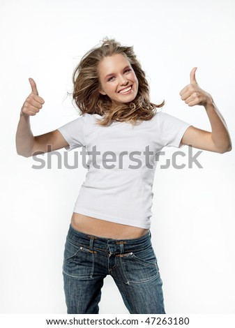 portrait of attractive girl showing thumbs up sign over on whitebackground