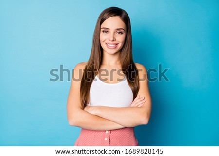 Portrait of attractive lovely girl cross her hands feel she real expert cant decide decisions choose choice solution isolated over blue color background Foto stock ©