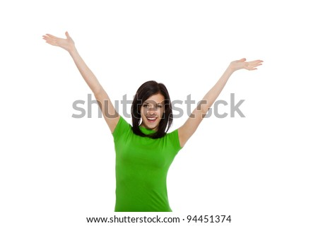 portrait of attractive smile teenage girl holding arms and hands up, isolated over white background concept of happy student, young pretty winning success woman