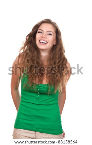 portrait of attractive smile teenage girl laughing, wear green shirt, with white teeth, brown long hair, isolated over white background concept of happy student, young pretty woman