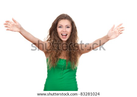 portrait of attractive smile teenage girl raised up arms hands at you, with brown long hair, isolated over white background concept happy student, freedom, young pretty woman asking us to come up hug