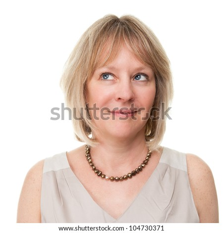 Portrait of Attractive Smiling Mature Woman Looking Upwards Isolated