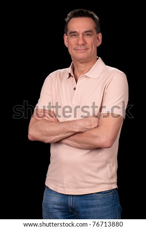 Portrait of Attractive Smiling Middle Aged Man Casually Dressed #76713880