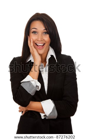 portrait of attractive surprised excited smile business woman, isolated over white background