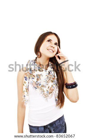 Portrait of attractive teenage girl think looking up,  All on white background.