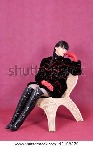Portrait of attractive woman in fur coat