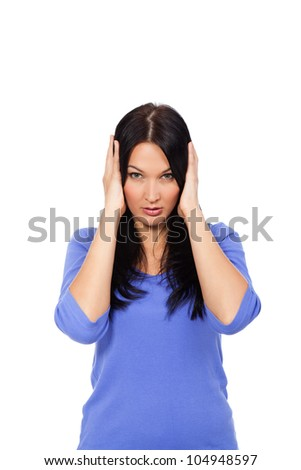 portrait of attractive woman with hands on ears, girl cover ear looking at camera isolated over white background