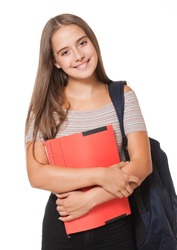 Portrait of attractive young student on white background.