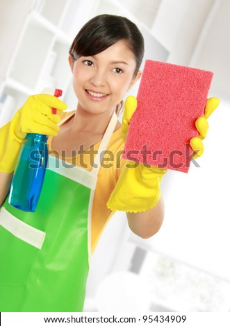 portrait of Attractive young woman cleaning windows with sprayer and sponge - stock photo