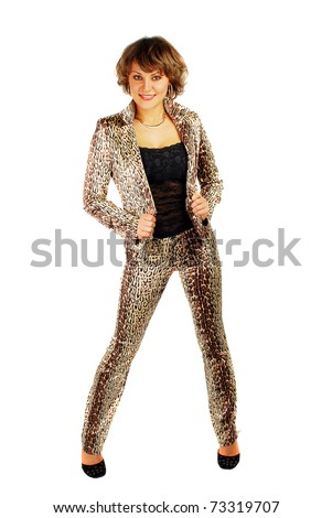Portrait of attractive young woman in leopard suite isolated on the white.