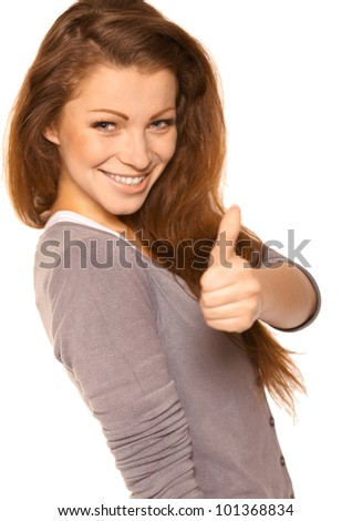 Young woman over white background