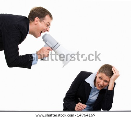 Portrait of authority businessman shouting at his colleague