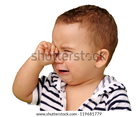 Portrait Of Baby Boy Crying Isolated On White Background