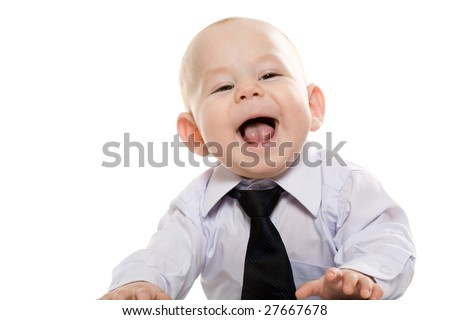 Portrait of baby boy wearing shirt and tie enjoying himself over white background
