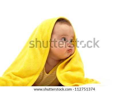 Portrait of baby girl in white background