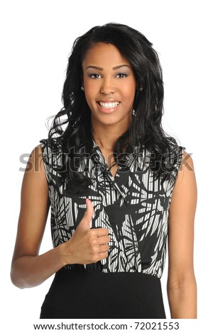 Portrait of beautiful African American businesswoman showing thumbs up isolated over white background
