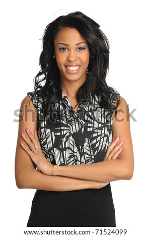 Portrait of beautiful African American businesswoman smiling isolated over white background