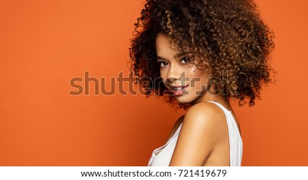 Portrait of beautiful african american female model smiling