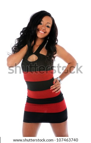 Portrait of beautiful African American woman in red and black dress isolated over white background