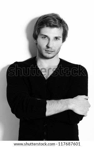 Portrait of Beautiful and attractive man in studio