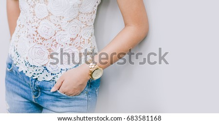Portrait of beautiful asian girl in lace top,portrait.Fashion concept. #683581168