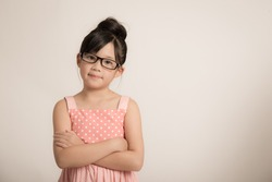 Portrait of beautiful asian girl wearing glasses