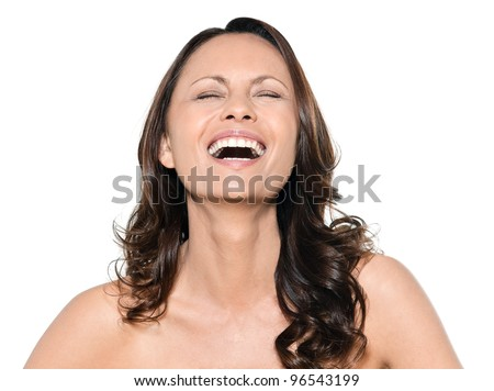 Portrait of beautiful Asian happy woman laughing with eyes closed in studio isolated on white background