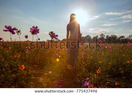 Portrait of beautiful asian woman in the field on sunset