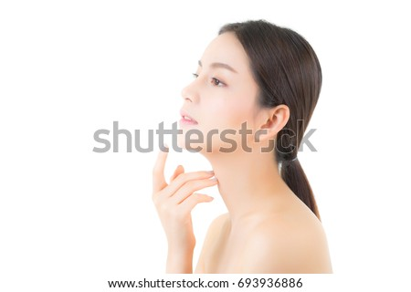 Portrait of beautiful asian woman makeup of cosmetic, girl hand touch chin and smile attractive, face of beauty perfect with wellness isolated on white background with skin healthcare concept. #693936886