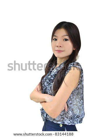 Portrait of beautiful asian woman on white background