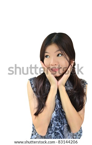 Portrait of beautiful asian woman surprising and exciting on white background