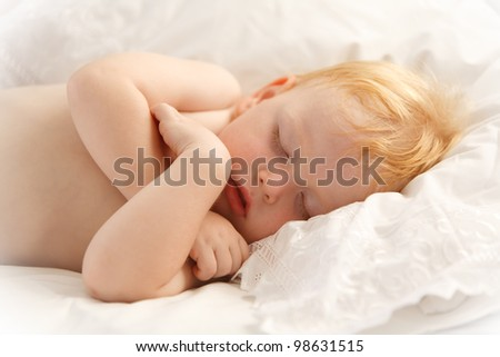 Portrait of beautiful baby sleeping peacefully